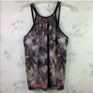 [PrAna] Black Floral Print Tank Top Workout C06